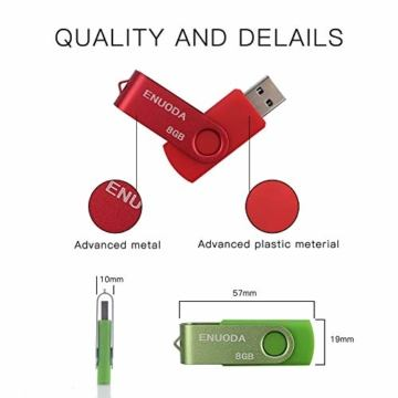 5 Stück 8GB USB Stick ENUODA Speicherstick Rotate Metall Mehrfarbig High Speed USB 2.0 Flash Drive Pack (Rot,Grün,Schwarz,Blau,Violett) - 2