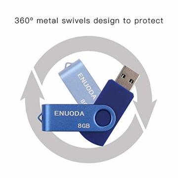 5 Stück 8GB USB Stick ENUODA Speicherstick Rotate Metall Mehrfarbig High Speed USB 2.0 Flash Drive Pack (Rot,Grün,Schwarz,Blau,Violett) - 4