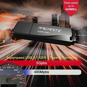 ARCANITE 512 GB USB 3.1 SuperSpeed USB-Stick, Lesegeschwindigkeiten von bis zu 400 MB/s. - 4