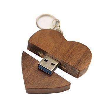 FeliSun Customized Holz Herz USB3.0 Flash Drive Pendrive 64 GB 32 GB 16 GB High Speed U Festplatte Memory Stick Externe Speicher Fotografie Hochzeitsgeschenke - 1