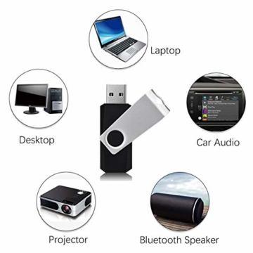 RAOYI 10 Stück USB Stick 4GB, USB 2.0 Flash Laufwerk Schwenken Speicherstick mit Metalldeckel für Laptop/PC/TV/Autoradio - Schwarz - 2