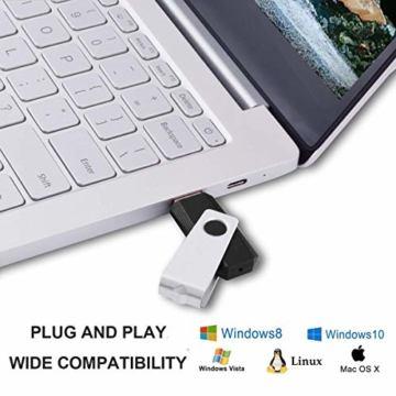 RAOYI 10 Stück USB Stick 4GB, USB 2.0 Flash Laufwerk Schwenken Speicherstick mit Metalldeckel für Laptop/PC/TV/Autoradio - Schwarz - 6