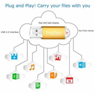 SunData USB Stick 5 Stück 16GB USB-Sticks USB 2.0 Speicherstick Flash Laufwerk (5 Mischfarben: Schwarz, Blau, grün, Rot, Gold) - 4