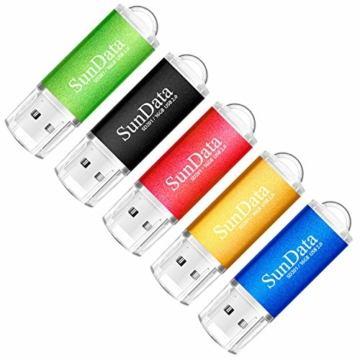 SunData USB Stick 5 Stück 16GB USB-Sticks USB 2.0 Speicherstick Flash Laufwerk (5 Mischfarben: Schwarz, Blau, grün, Rot, Gold) - 1
