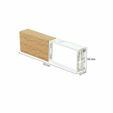 USB-Stick 64GB, STAR-LINK Wasserdichtes 2.0 USB-Flash-Laufwerk Transparentes Holz kristall-USB-Memory-Stick Neuheit LED-Licht-Stick Daumenantriebe Datenspeicherung Mini Jump Drive U-Disk Geschenk - 4