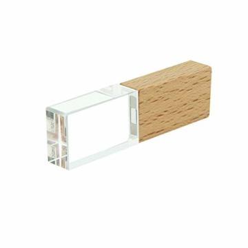 USB-Stick 64GB, STAR-LINK Wasserdichtes 2.0 USB-Flash-Laufwerk Transparentes Holz kristall-USB-Memory-Stick Neuheit LED-Licht-Stick Daumenantriebe Datenspeicherung Mini Jump Drive U-Disk Geschenk - 1