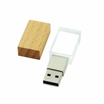 USB-Stick 64GB, STAR-LINK Wasserdichtes 2.0 USB-Flash-Laufwerk Transparentes Holz kristall-USB-Memory-Stick Neuheit LED-Licht-Stick Daumenantriebe Datenspeicherung Mini Jump Drive U-Disk Geschenk - 5