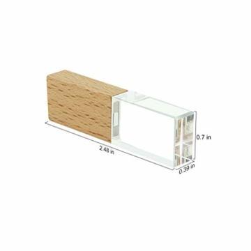 USB-Stick 64GB, STAR-LINK Wasserdichtes 2.0 USB-Flash-Laufwerk Transparentes Holz kristall-USB-Memory-Stick Neuheit LED-Licht-Stick Daumenantriebe Datenspeicherung Mini Jump Drive U-Disk Geschenk - 6