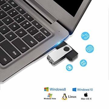 USB-Sticks 4GB, TOPESEL 10 Stück Speicherstick USB 2.0 Memory Sticks Pen Drives, 360° Drehbar Metall Design mit Schlüsselanhänger, (5 Mehrfarbig Schwarz Blau Grün Rot Orange) - 2