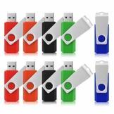 USB-Sticks 4GB, TOPESEL 10 Stück Speicherstick USB 2.0 Memory Sticks Pen Drives, 360° Drehbar Metall Design mit Schlüsselanhänger, (5 Mehrfarbig Schwarz Blau Grün Rot Orange) - 1