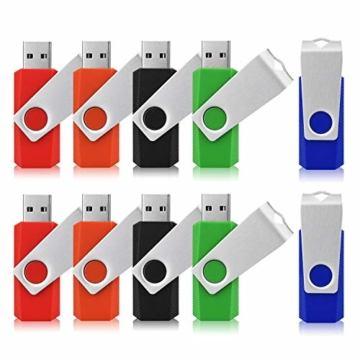 USB-Sticks 4GB, TOPESEL 10 Stück Speicherstick USB 2.0 Memory Sticks Pen Drives, 360° Drehbar Metall Design mit Schlüsselanhänger, (5 Mehrfarbig Schwarz Blau Grün Rot Orange) - 5