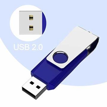USB-Sticks 4GB, TOPESEL 10 Stück Speicherstick USB 2.0 Memory Sticks Pen Drives, 360° Drehbar Metall Design mit Schlüsselanhänger, (5 Mehrfarbig Schwarz Blau Grün Rot Orange) - 6